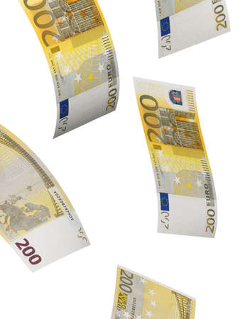 vertical format: Two hundred euro bill isolated on white. Vertical format