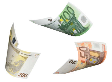 Euro bill collage isolated on white. Horizontal format photo