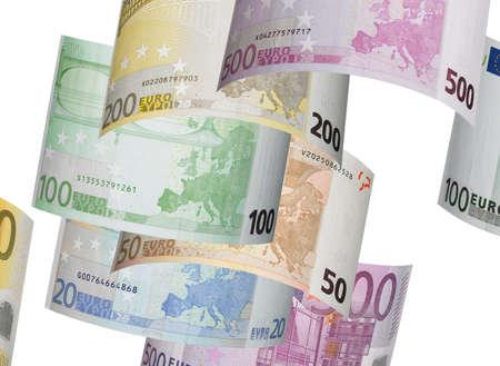 horizontal format: Euro bill collage isolated on white. Horizontal format Stock Photo