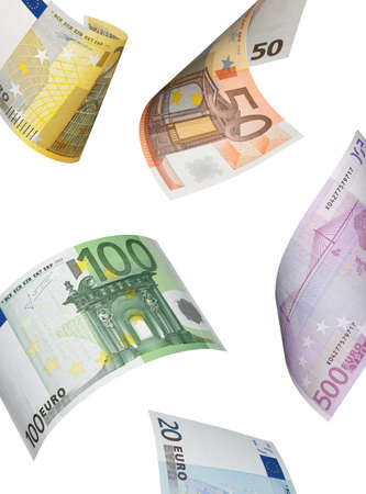Euro bill collage isolated on white. Vertical format photo