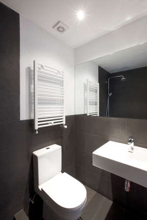 Bathroom interior with slate black walls. Vertical format