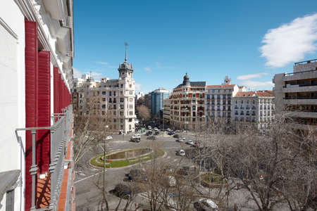 Madrid downtown with classical buildings in horizontal format photo