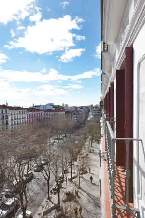 Madrid downtown with classical buildings in vertical format photo