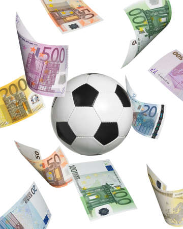 dinero euros: Balón de fútbol con los billetes en euros aislados en blanco. Formato vertical