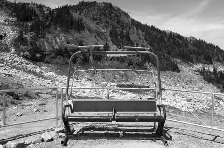 chairlift: Abandoned chairlift in Whistler mountains. British Columbia. Canada. Horizontal