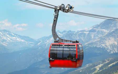 Chair lift and mountains in Whistler. British Columbia. Canada. Horizontal