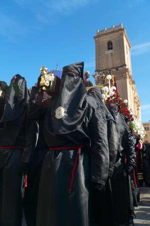 procession: Easter procession in Elche, Alicante, Valencia. Spain. Vertical