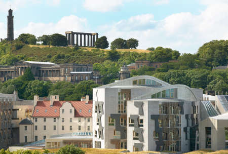 Edinburgh city view with Parliament and Regent Garden. Scotland. UK. Horizontal