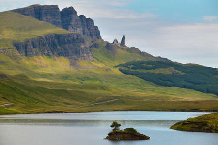 Scottish landscape in Trotternish peninsula. Skye isle. Scotland. UK