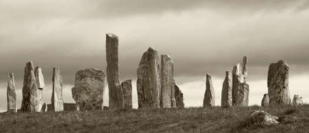 Prehistoric site with menhirs in Scotland. Callanish. Lewis isle. Horizontal