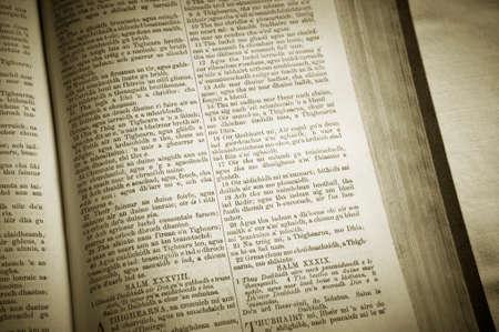 gaelic: Holy bible in gaelic language. Lewis isle. Scotland. UK. Horizontal