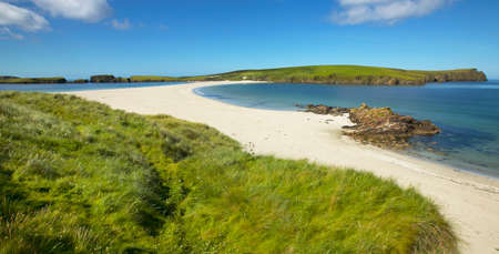 Tombolo and beach in Bigton and St Ninian. Shetland. Scotland. UK