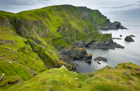 Scottish coastline landscape in Shetland islands. Scotland. UK. Horizontal