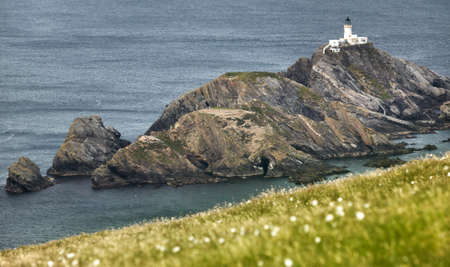 Scottish coastline landscape with lighthouse in Shetland islands. Scotland. UK. Horizontal 版權商用圖片