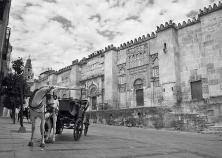 horse drawn: Spanish cathedral. Mezquita outdoor facade with horse drawn carriage. Cordoba. Horizontal