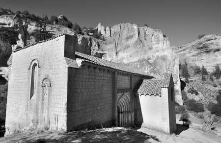 bartolome: Landscape with canyon and Bartolome hermitage in Soria, Spain