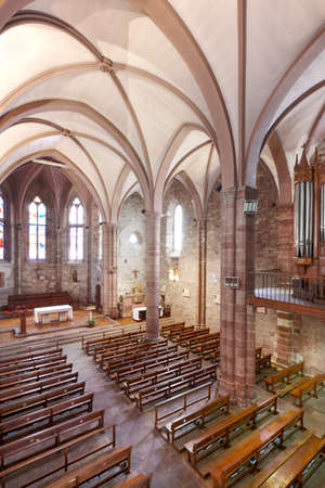 pilgrim journey: Saint Jean Pied de Port gothic church in Santiagos way. France Editorial