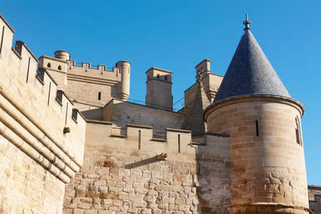 navarra: Antique castle battlement detail in Olite, Navarra in Spain. Horizontal Stock Photo