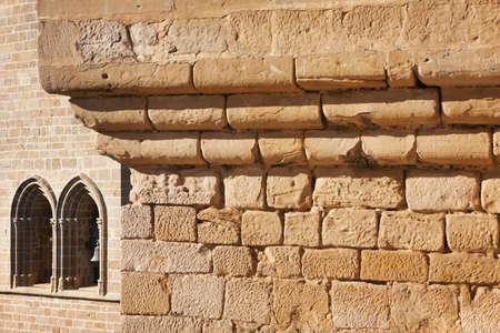 navarra: Antique castle facade detail in Olite, Navarra. Spain. Horizontal