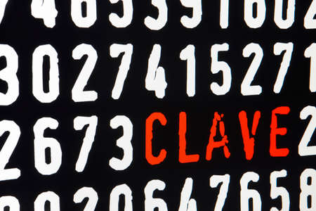 personal identification number: Computer screen with clave text and numbers on black background. Horizontal