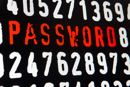 personal identification number: Computer screen with password text and numbers on black background. Horizontal Stock Photo