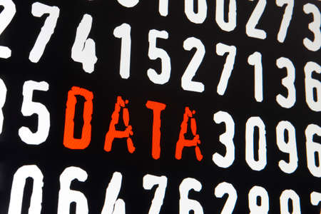personal identification number: Computer screen with data text on black background. Horizontal
