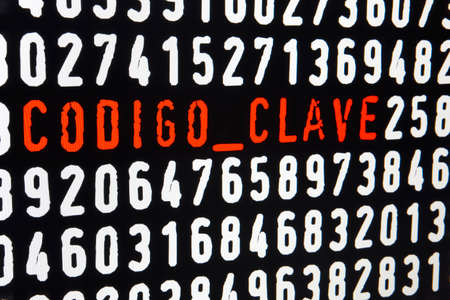 clave: Computer screen with codigo clave text on black background. Horizontal Stock Photo