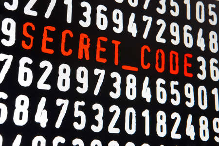 secret code: Computer screen with secret code text on black background. Horizontal Stock Photo