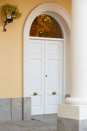 Classic home entrance with door and column in warm tone. Vertical