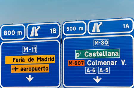 traffic signs: European spanish information road highway signpost in blue tone. Horizontal
