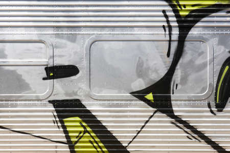 horizontal format: Retro metallic train structure detail. Horizontal format