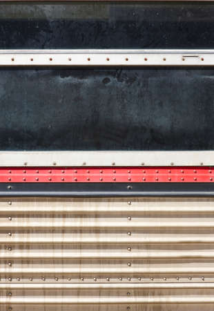 vertical format: Antique train window with worn parts in vertical format Stock Photo