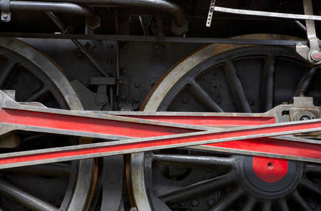 connecting rod: Steam locomotive wheel and connecting rod detail. Horizontal