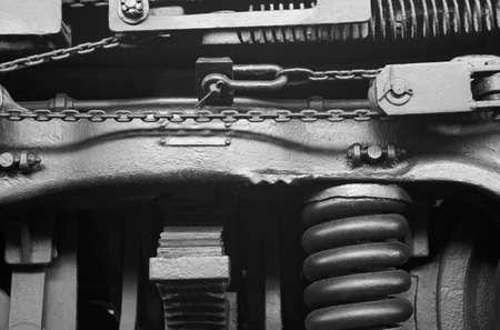 pitman: Steam locomotive machinery detail in black and white. Horizontal Stock Photo