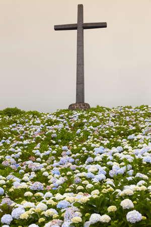 vertical garden: Catholic cross and hydrangeas garden on a cloudy day. Vertical Stock Photo