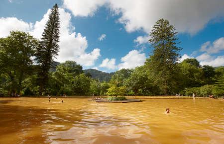 ferruginous: Ferruginous hot water spring in Sao Miguel, Azores. Portugal. Horizontal