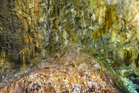 cave exploring: Volcanic cave gallery in Terceira island. Azores. Algar do Carvao. Portugal