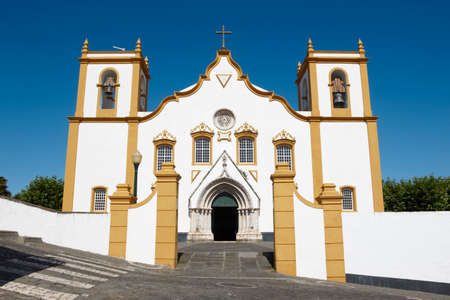 praia: Traditional Azores church. Santa Cruz. Praia da Vitoria. Terceira. Portugal. Horizontal
