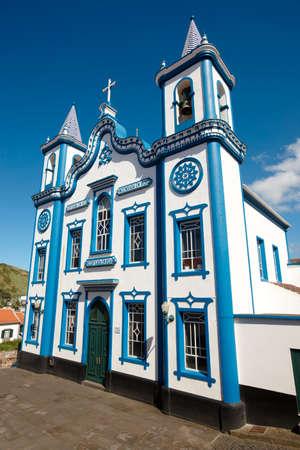 praia: Traditional Azores church. Santo Cristo. Praia da Vitoria. Terceira. Portugal. Vertical