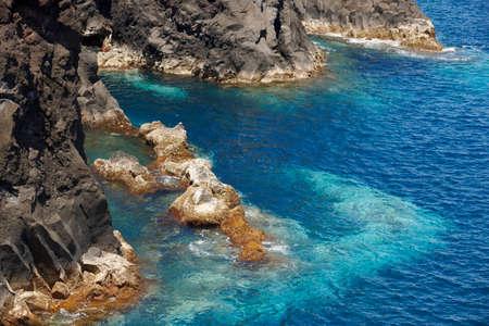 jorge: Azores volcanic coastline in Sao Jorge. Faja do Ouvidor. Portugal. Horizontal Stock Photo