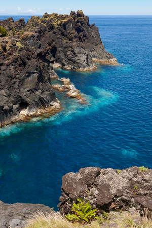 jorge: Azores volcanic coastline in Sao Jorge. Faja do Ouvidor. Portugal. Vertical