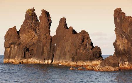 jorge: Azores basalt coastline in Sao Jorge. Faja do Ouvidor. Portugal. Horizontal