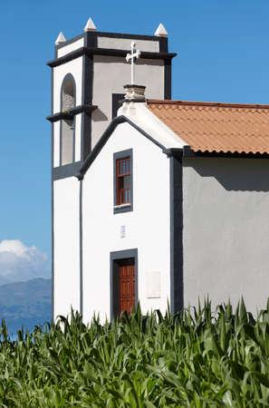 jorge: Traditional Azores catholic chapel in Sao Jorge island. Portugal. Vertical