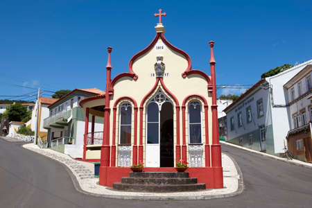 jorge: Traditional Azores catholic chapel in Topo. Sao Jorge. Portugal. Horizontal