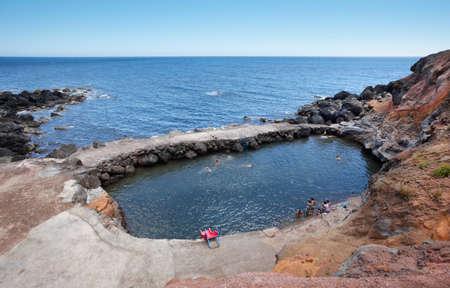 jorge: Azores coastline landscape with natural pool in Topo. Sao Jorge. Horizontal Stock Photo