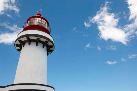 jorge: Red and white lighthouse in Topo, Sao Jorge, Azores. Portugal. Horizontal