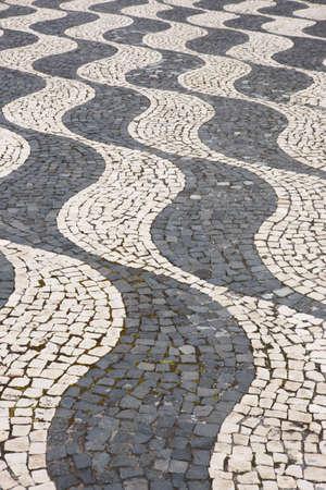empedrado: formas curvas pavimentadas tradicionales saheped en Pico, Azores. Portugal. Horizontal Foto de archivo