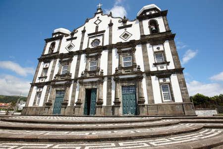 flores: Traditional azores church in Flores island. Nossa Senhora da Conceicao. Portugal