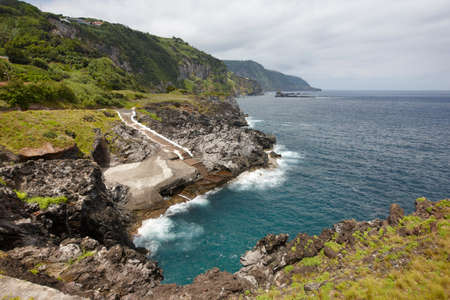 natural pool: Azores coastline landscape with natural pool in Flores island. Portugal. Horizontal