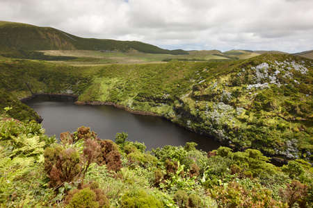 flores: Azores landscape with lake in Flores island. Caldeira Comprida. Portugal. Horizontal